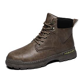 Men's Boots Casual Outdoor Nappa Leather Warm Waterproof Black / Brown Winter