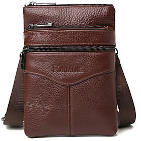 Men's Bags Cowhide Fanny Pack Zipper for Outdoor Dark Brown / Black / Brown