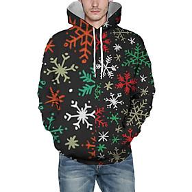 Men's Christmas Pullover Hoodie Sweatshirt Print 3D Graphic Christmas Hoodies Sweatshirts  Black