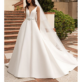 A-Line Wedding Dresses V Neck Court Train Satin Regular Straps Plus Size with Sashes / Ribbons Buttons 2020