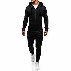men's autumn casual long sleeve sports suit tracksuit hoodie sweatshirt top pants set (xl, black)