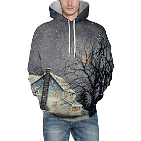 Men's Christmas Pullover Hoodie Sweatshirt 3D Graphic Scenery Christmas Hoodies Sweatshirts  Dark Gray