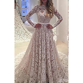 A-Line Wedding Dresses Jewel Neck Watteau Train Lace Long Sleeve Formal Beach with Sashes / Ribbons Appliques 2020