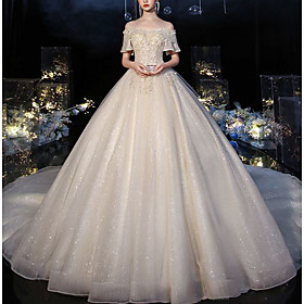 Ball Gown Wedding Dresses Off Shoulder Watteau Train Lace Tulle Short Sleeve Formal Sparkle  Shine Elegant with Beading Appliques 2020