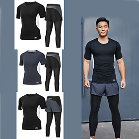 Men's 2-Piece Zipper Pocket Activewear Set Running T-Shirt With Pants Athletic Short Sleeve 2pcs Summer Elastane Breathable Quick Dry Moisture Wicking Fitness