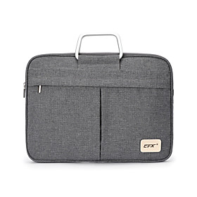 Men's Bags Polyester Briefcase Zipper for Office  Career Gray