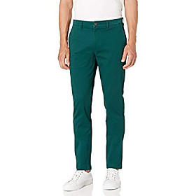 amazon brand - menamp; #39;s skinny-fit washed comfort stretch chino pant, pine green 33w x 34l