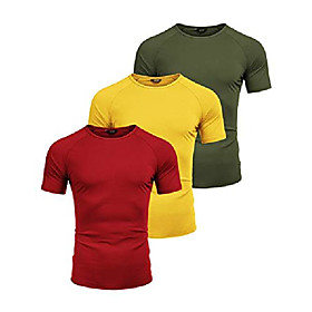 men's 3 pack tank tops workout gym shirts muscle tee bodybuilding fitness sleeveless t shirts (olive green/red/yellow, large)