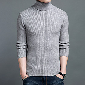 Men's Basic Knitted Braided Striped Solid Color Pullover Acrylic Fibers Long Sleeve Sweater Cardigans Turtleneck Fall Winter Black Wine Camel