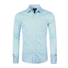 men's casual cotton polka dots long sleeve dress shirts(blue,m)