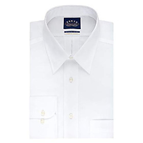 eag men's non iron stretch collar regular fit solid point collar dress shirt, white, 18.5 neck 34-35 sleeve