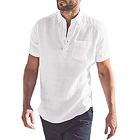cotton linen stylish short sleeve button down placket front henley shirts mens lapel oxford shirt with left chest pocket casual menswear for men