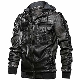 men's vintage biker faux leather jacket retro zip-up stand collar motorcycle jackets with removable hood (black-1 xl)