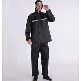 men's hooded windproof and waterproof jacket thick rainwear b-black-suit s