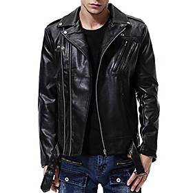 butamp; #39;s faux leather jacket fashion punk motorcycle zip slim fit biker jacket