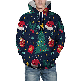 Men's Christmas Pullover Hoodie Sweatshirt 3D Graphic Star Christmas Hoodies Sweatshirts  Navy Blue