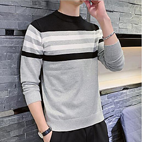 Men's Color Block Pullover Long Sleeve Sweater Cardigans Crew Neck Fall Winter Navy Blue Gray