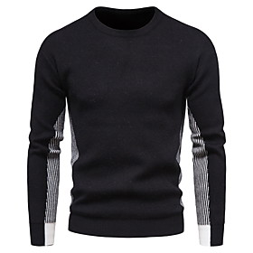 Men's Color Block Pullover Long Sleeve Sweater Cardigans Crew Neck Black Light gray Dark Gray