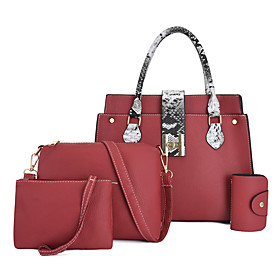 Women's Bags PU Leather Bag Set 4 Pieces Purse Set Zipper for Daily Black / Blue / Red / Blushing Pink / Bag Sets
