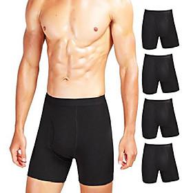 men's comfy boxer brief 5 or 7-pack tagless underwear soft stretchy cotton spandex (black pack-5, xxl)