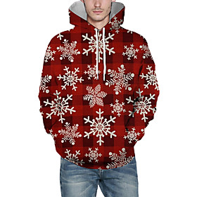 Men's Christmas Pullover Hoodie Sweatshirt Plaid Checkered 3D Graphic Christmas Hoodies Sweatshirts  Wine