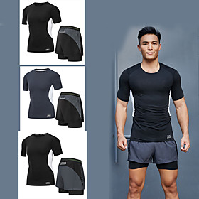Men's 2-Piece Zipper Pocket Tracksuit Athletic Short Sleeve 2pcs Summer Elastane Breathable Quick Dry Moisture Wicking Fitness Gym Workout Running Active Train