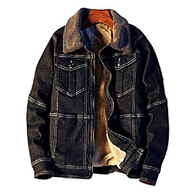 butamp; #39;s lapel sherpa fleece lined thicken denim jean trucker jacket coats amp; #40;black fleece brown, lamp; #41;