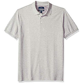 buttoned down menamp; #39;s classic-fit supima cotton stretch pique polo shirt, light heather grey, x-small