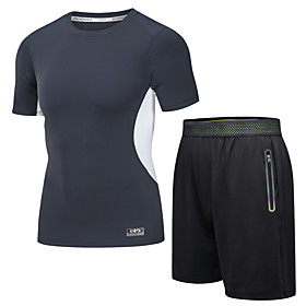 Men's 2-Piece Zipper Pocket Activewear Set Athletic Short Sleeve 2pcs Summer Elastane Breathable Quick Dry Moisture Wicking Fitness Gym Workout Running Active