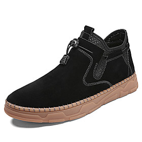 Men's Boots Casual Daily Outdoor Walking Shoes Faux Leather Wear Proof Booties / Ankle Boots Light Brown / Dark Brown / Black Fall / Winter