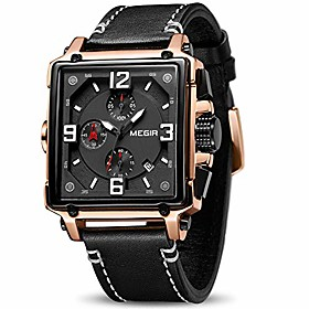men's analogue army military chronograph luminous quartz watch with fashion leather strap for sport amp; business work (2061 rose/black)