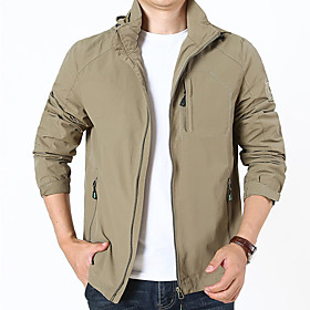 Men's Jacket Regular Solid Colored Daily Active Black Blue Army Green M L XL