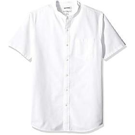 amazon brand - men's standard-fit short-sleeve band-collar oxford shirt, -white, xxx-large