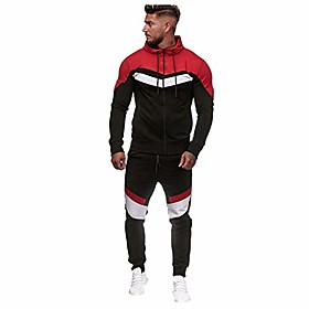 2 pieces outfit, mens casual gradient stripe full zipper hoodies sweatshirt amp; pants sets sport suit tracksuit