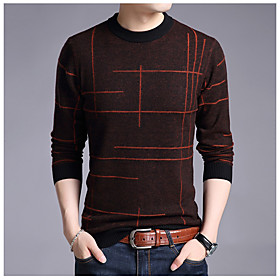 Men's Knitted Striped Sweater Long Sleeve Sweater Cardigans Crew Neck Winter Blue Red Yellow