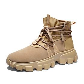 Men's Boots Classic / Vintage / British Outdoor Office  Career Microfiber Non-slipping Wear Proof Black / Khaki / Beige Fall / Winter