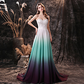 A-Line Color Block Sexy Prom Formal Evening Dress Sweetheart Neckline Sleeveless Sweep / Brush Train Chiffon with Embroidery 2020