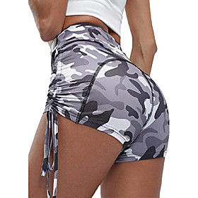 women's fitness yoga shorts high waist side ruched butt push up hot pants