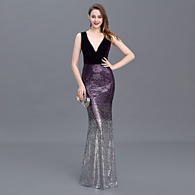 Mermaid / Trumpet Sexy Sparkle Prom Formal Evening Dress V Neck Sleeveless Floor Length Sequined with Ruched Sequin 2020