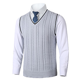Men's Wedding Christmas Stripe Knitted Braided Polka Dot Striped Color Block Pullover Acrylic Fibers Sleeveless Sweater Cardigans V Neck Fall Winter White Blac