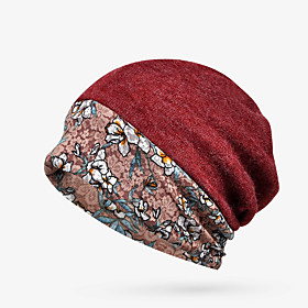 Women's Floppy Hat Knitwear Cotton Active Basic - Floral Comfortable Fall Winter Wine Royal Blue Dark Gray