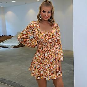 Women's A-Line Dress Short Mini Dress - Long Sleeve Print Print Fall Casual 2020 Orange S M L