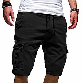 fashion!! sfe men summer shorts,menamp; #39;s sport pure color bandage casual loose sweatpants drawstring shorts pant black