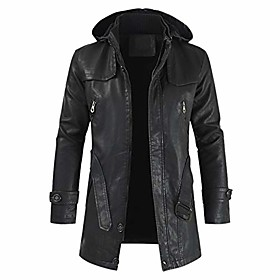 butamp; #39;s casual zip up mid-long camouflage faux leather jacket distressed hooded trench coat amp; #40;black,4xlamp; #41;