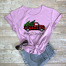 Women's Christmas T-shirt Graphic Prints Letter Print Round Neck Tops 100% Cotton Basic Christmas Basic Top White Purple Red