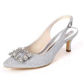 Women's Wedding Shoes Kitten Heel Pointed Toe Classic Wedding Party  Evening Rhinestone Solid Colored Gleit White / Light Purple / Champagne
