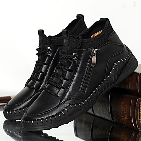 Men's Boots Casual Outdoor Nappa Leather Breathable Handmade Non-slipping Dark Brown / Black / Khaki Fall