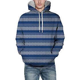 Men's Christmas Pullover Hoodie Sweatshirt Lines / Waves 3D Graphic Christmas Hoodies Sweatshirts  Blue