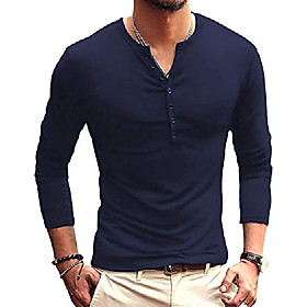 men's casual slim fit basic henley long sleeve t-shirts (xx-large, blue)