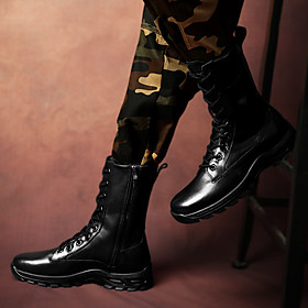 Men's Boots Sporty / Classic / Casual Daily Outdoor Walking Shoes Cowhide Breathable Warm Non-slipping Mid-Calf Boots Black Fall / Winter